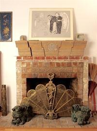 Artwork by José Luis Cuevas, Batchelder tile mantel supports, pr. bronze Chinese foo dogs, brass peacock fire screen