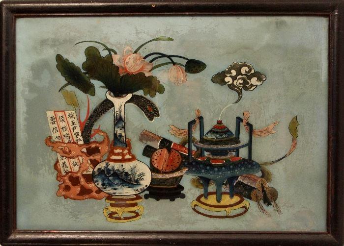 Framed Qing Dynasty scene, reverse-painted on glass