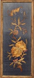 Antique Chinese embroidery panel w/gold thread