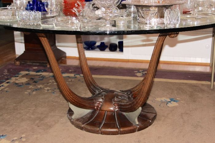 Deco glass-top dining table