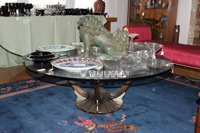 Deco glass-topped coffee table