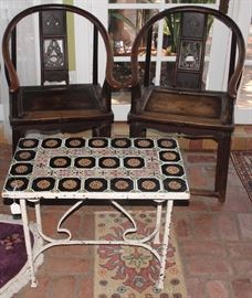 Pr. antique Chinese rosewood horseshoe-back hall chairs