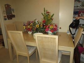 "Dining Table 68x44, 2-20"" leaves and 6 Chairs, Flower Arrangements"