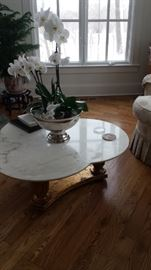 Marble/Wood Gesso Base Table C 1960's