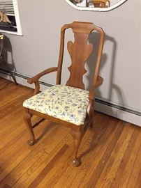 Dining chair with Waverly fabric stain proof.