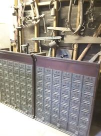 Antique post office boxes... We even have the original individual combinations for each box!