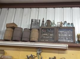 Nice collection of wooden nail kegs & old keys