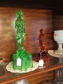 """Rare 13"""" Cambridge Charlotte Vaseline Glass Flower Frog & Smaller Cambridge Charlotte Flower Frog in Amber."""