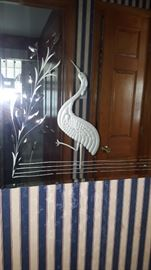 Art Deco Mirror With Etched Crane