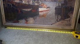 "Live Auction Piece: Emile Albert Gruppe Oil 1896 - 1978  Harbor Seascape 30"" wide-not including frame. Bidding begins on Saturday, September 30, 2018 at 1:00 pm.  Opening bid: $3000.00 Bidder must be present.  Payment is due in full at the close of the auction."