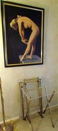 Original artwork, acrylic and brass TV trays