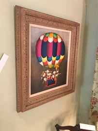 J Roybal Framed Oil On Canvas Painting ~ Children On A Hot Air Balloon