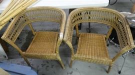 2 Wicker chairs.
