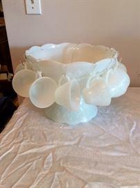 Milk Glass Punch Bowl Set.