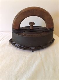 Antique Iron and Stand.