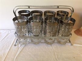 Retro Glassware Set and Carrier.
