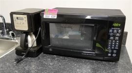 Black GE Microwave and Mr. Coffee Pot