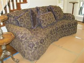 Beautiful Italian Couch and Loveseat, Deep purple and Beige