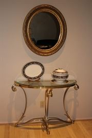 Demi-Lune  Glass & Brass Foyer Table with Decorative Oval Mirror and Decorative Items