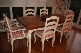 Rectangular Kitchen Table and 6 Chairs with Red Gingham Cushions
