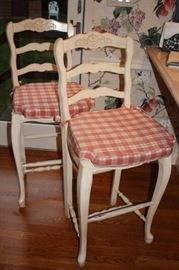 Pair of Pub Height Kitchen Stools with Red Gingham Cushions