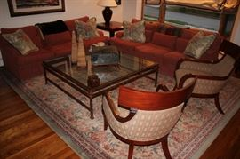 Pair of Sofas, Large Metal & Class Square Coffee Table, Accent Pillows, Pair of Upholstered Side Chairs and Rug with Decorative Items