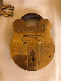 Old Brass Padlock