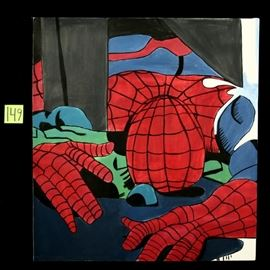 Original Oil on Canvas Spiderman Super hero Art