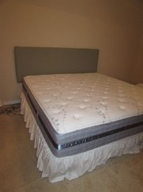 Serta Perfect Sleeper with blue fabric headboard.  In like new condition