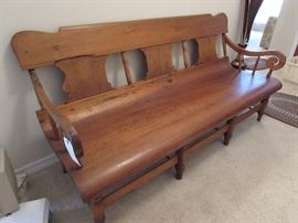 1860s hand carved Deacon's bench.