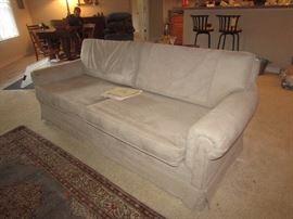 Beige micro suede sofa