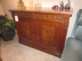 Eastlake marble top Walnut burl buffet or sideboard