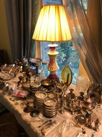 lamp, sterling silver and silver plate items