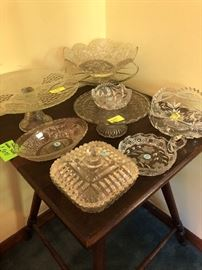 cake plates and glassware