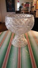 American Brilliant Cut Crystal Punch Bowl