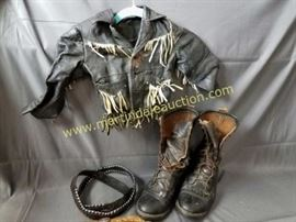 children leather jacket, adult boots, western decor
