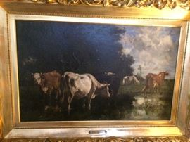 "Oil on canvas. Signed E. Van Marcke.  21.5"" x 32.75"""