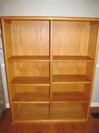 One of 2 oak bookshelves