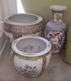 Oriental fish bowls and vase.  Add glass tops to the fish bowls and you have beautiful side tables