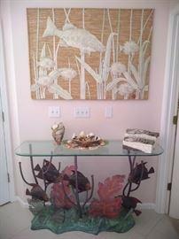 Beautiful custom made sea life table.  Copper crafted, beautiful!