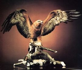 """Boehm  American Porcelain, """"Golden Eagle"""", Limited Edition of 50                                                                                                                                                                                                                                                                                                                                                                                                                                                                                                         , 45'W x 29.5""""H x 22""""D, Eng, 1983                                                   Boehm Porcelains are in the White House, the Metropolitan Museum of Art in New York, the Smithsonian Institution in Washington, DC, Buckingham Palace in London,  the Vatican, and in 127 major museums and art institutions worldwide."""