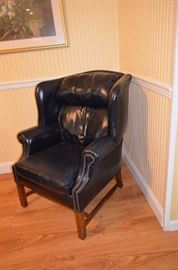 Navy Blue Leather Wing Chair