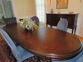 Stanley dining room table with 8 gorgeous blue upholstered dining room chairs