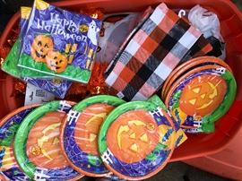Brand new never opened holiday plates and napkins matching Christmas Halloween Easter Valentines every holiday