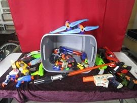 Large Lot of Nerf Guns and Toys