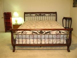 Beautiful California King Sleigh Bed w/Mattress,     Several Night Stands, Tables, Bookcases in this sale...