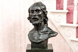 AUGUSTE RODIN (1840-1917) ORIGINAL BRONZE HEAD OF JOHN THE BAPTIST, GRUET FOUNDRY, PARIS Item #: 85408