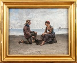 AUGUST VILHELM HAGBORG (SWEDISH, 1852-1925) OIL ON CANVAS- 19TH C. CHARMING ACADEMIC PAINTING WITH YOUNG FISHERMAN AND FISHMONGER GIRL FLIRTING Item #: 90259