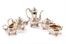 ANTIQUE TIFFANY STERLING SILVER TEA AND COFFEE SERVICE - CHRYSANTHEMUM PATTERN Item #: 90314
