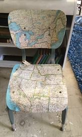 Great school chair with decoupage map! Awesome.